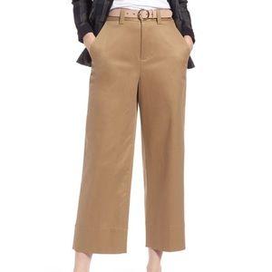 👠 1901 High Waist Cropped Khaki Pants Wide Leg